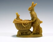Beeswax Mother Rabbit Pushing Baby Rabbit in a Carriage Cast using Antique Chocolate Mold