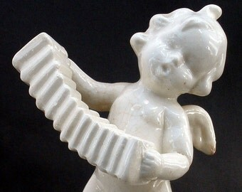 Vintage Singing Cherub White Glaze Ceramic Angel Figurine Made in Japan FREE Shipping