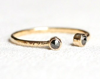 Rose Cut Black Diamonds Open Cuff Ring - Solid 14k Gold - Rose or White or Yellow Gold Dual Diamonds Stacking Ring - Delicate Toi et Moi