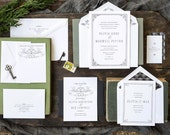 Vintage Wedding Invitation, Letterpress Wedding Invitation, Elegant Wedding Invitation, Wedding Invitation Suite, Formal Wedding Invitation