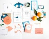 Plaid Wedding Invitation, Letterpress Wedding Invitation, Invitation Suite, Summer Wedding Invitation, Beach Wedding Invitation, Picnic