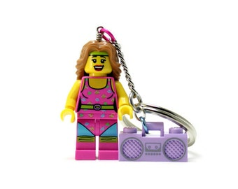 Fitness Instructor Keychain - made from Series 5 LEGO (r) Minifigure, Aerobics Instructor Keychain