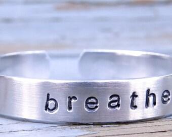 Breathe Bracelet, Yoga Jewelry, Breathe Bangle, Hand Stamped Bracelet, Aluminum, Personalized Jewelry, Select Symbol, Breathe