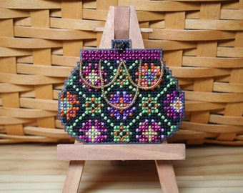Coin Purse Cross Stitched and Beaded Ornament, Pin, or Magnet - Free U.S. Shipping