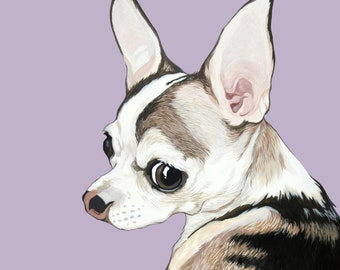 Custom Pet Portrait in 8x10 inch size- hand painted in gouache using your photographs as a reference