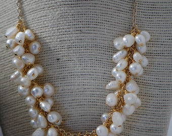 White fresh water pearl cluster Gold Plated necklace. Wire wrapped, bridal jewelry, Gold Plated, cluster, fresh water pearl necklace.