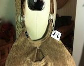 Beige Chenille Upholstery Hobo Shoulder Bag