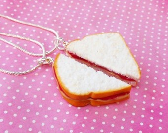 strawberry jam peanut butter and jelly sandwich best friend necklaces polymer clay bff  valentines day