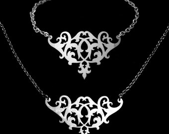 Bridesmaid Gift Set - Sterling Silver Lace Ornate Flourish Bracelet and Necklace - RENAISSANCE SOIREE