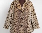1960s vintage leopard print faux fur coat * La Sport Cathy Dee * 1950s 60s vintage fur jacket CT122
