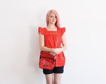 shiny red Vespa Piaggio purse . patent cross body messenger bag .sale