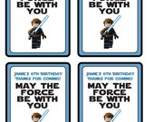 Customized Star Wars Party Printables Gift Bag Tags, Party Favors - Anakin Skywalker