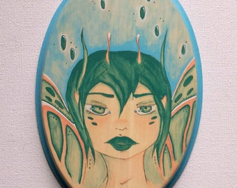 Fairy Butterfly. Original Acrylic Painting on Wood. Wall Hanging.