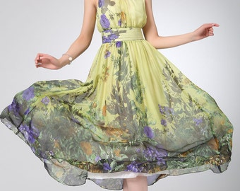 floral dress women, Prom dress women chiffon dress maxi dress long dress (1228)