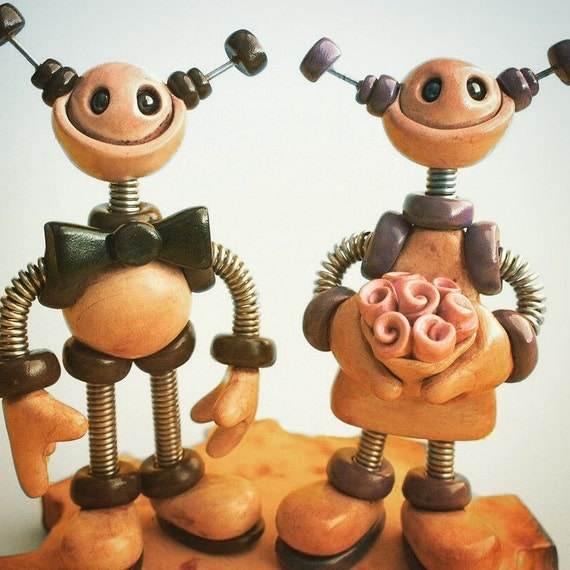 Rustic Robot Wedding Cake Topper MADE TO ORDER Robot Bride and Groom 5 inch