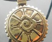 Mayan Hunab Ku Talisman  Kiln-Fired Bronze Necklace / Keyring / Tribal Indian Pendant / Celestial Pendant / Southwest Bronze Pendant/Keyring