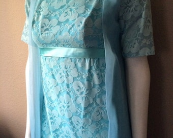 Vintage Women's 60's Dress, Turquoise, Formal Gown, Lace, Full Length, Short Sleeve (S)