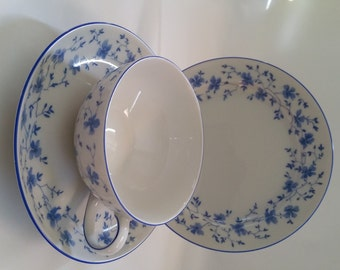 Vintage Arzberg Blue Flowers Tea Cup Trio with cake plate