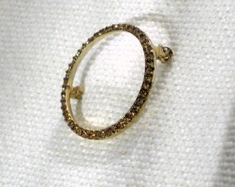 Monet Brooch 50s Vintage Costume Jewelry Rhinestone Circle Pin Chocolate Brown