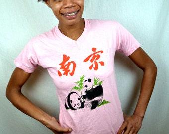 Vintage 80s Chinese Panda Bear Pink Small Tshirt Tee Shirt
