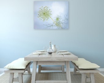 Light Blue Flower Photography Canvas Pastel Wall Art, Queen Anne's Lace, 8x10, 11x14, 16x20