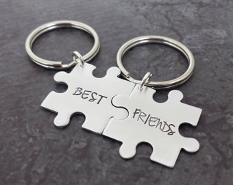 Personalized Puzzle Piece Key Chains - Sterling Silver Hand Stamped Puzzle Key Chain Set