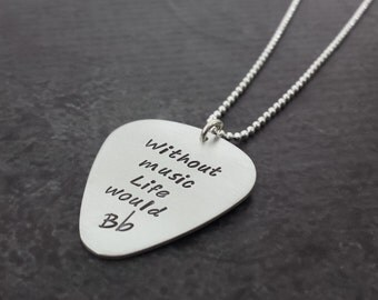 Personalized Silver Guitar Pick Necklace - Hand Stamped Necklace - Personalized Jewelry