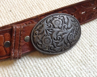 "Tooled Leather Western Belt.   Large Buckle.  Fits size 34 to 39"".  Rockabilly, Boho, Hippie."