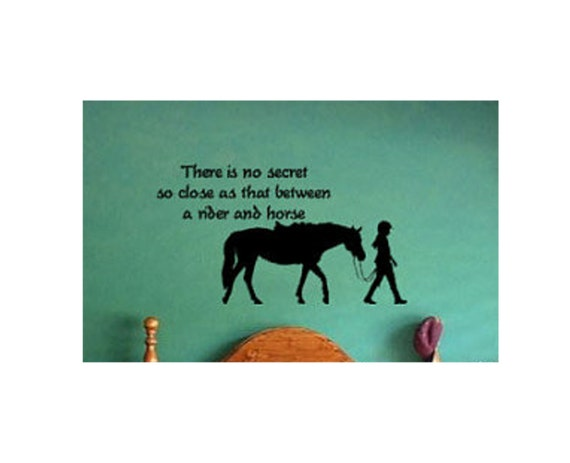 Horse decal-Horse and rider sticker-Teen girls room decal-Wall words-Pony-38 X 21 inch horse quote wall decor