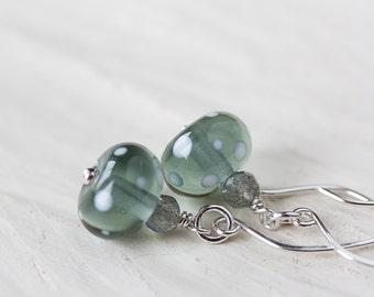 Subtle Light Gray Earrings, transparent gray polka dot glass, labradorite, SRA lampwork earrings, 925 sterling silver