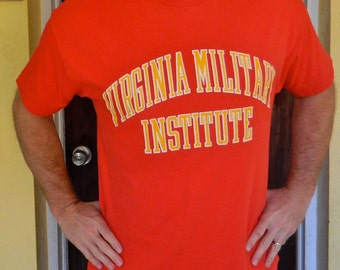Virginia Military Institute 1980s vintage T-shirt - red soft and heavyweight - size extra large