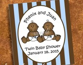 20 Baby Tea Striped Labels
