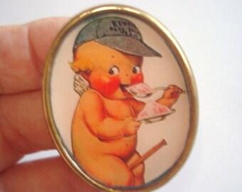 Kewpie Doll Vintage Jewelry  Eating Ice Cream Brooch KL Design