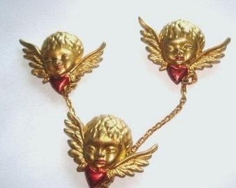 Rare Vintage Angels 3 Pcs. Fur Clip Jewelry Brooch Gold Tone
