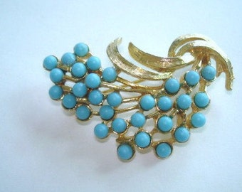 Signed Art Turquoise Rhinestone  Flower Brooch Gold Tone