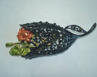 Jet Black Rhinestone Rose Flower  Brooch Vintage Jewelry