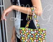 Daisy tote bag - Cotton Mini Tote bag - Handbag - Diaper bag - School bag
