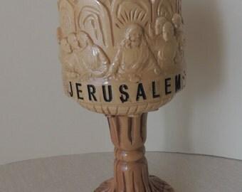 Unique Handmade Wooden Jerusalem Chalice. OOAK Last Supper Religious Goblet. Early Jerusalem Cross on Drinking Vessel
