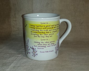 1970s Susan Polis Schutz Mug / Vintage Blue Mountain Arts Pottery Mug / Vintage Love Is Mug