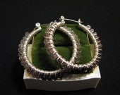 Vintage Silver Tone and Clear Gray Beaded Coiled Hoop Pierced Earrings