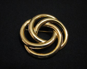 BIG Vintage Monet Gold Tone Round Twisted Eternity Knot Pin Brooch