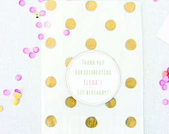 Birthday favor bags, treat bags, gold polka dots, glassine bags, birthday favors
