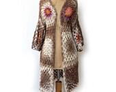 Cotton Cardigan, Bohemian Cardigan, Summer Cardigan, Boho Crochet Cardigan, Crochet Sweater, Boho Fashion, Womens Organic Cardigan, Gift