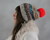 Slouchy Beanie- Pom Pom Beanie-Colorful Beanie-Knitted Hat-Knit Hat-Womens Beanie- Neon Pom Pom Beanie - Unique Beanies- Slouchy Pom Pom Hat