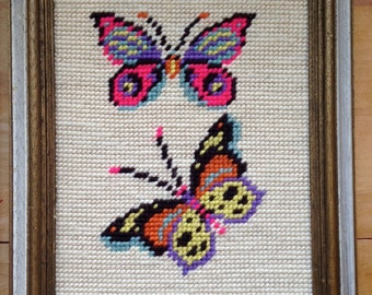 butterfly needlepoint, vintage crewel, framed needlework, boho wall hanging