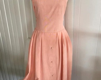 Sale Gorgeous Vintage Peach Two Piece Dress and Matching Jacket -- Size S-M