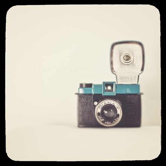 Photograph of Camera, Vintage Diana F, Teal Blue,  Wall Art Print  retro inspired, wall decor, collectible camera, office decor, camera geek
