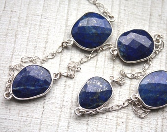 Lapis Lazuli Gemstone Bezel Set Sterling Silver Chain // By the Foot Jewelry Supply/by the foot