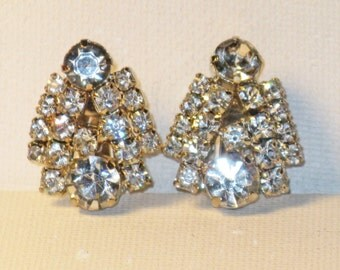 Vintage Clear Rhinestone Clip Earrings  (E-1-3)