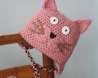 Cat Hat, Pink Kitty Hat, Earflap Hat, Crochet Beanie, Winter Hat, Halloween Costume, Children's Gift, Holiday Gift, Fun Hat, Girls, Women